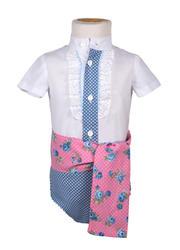 Ranita flamenca para niño azul con lunares y rosa