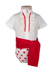 Ranita flamenca para niño beige lunar rojo