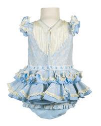 vestido de gitana bebe en celeste y blanco con estampado de cachemir y braguita a juego con lunares blancos- Espalda - MiBebesito