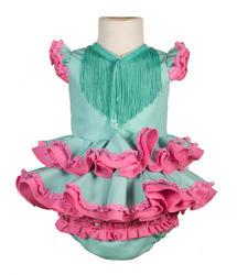 traje de gitana para bebe con braguita en verde agua con adornos en los volantes en color rosa, espalda - MiBebesito
