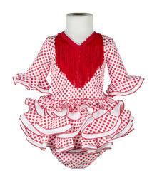 Traje de flamenca para bebé blanco con lunar rojo