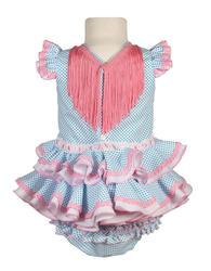 Traje de flamenca de bebé blanco con lunares turquesa y braguita a juego MiBebebesito bb006