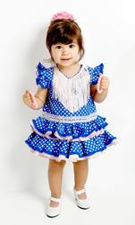 Traje de gitana flamenca para bebe azul lunar blanco braguita cubrepañal a juego incluida bb400 MiBebesito modelo