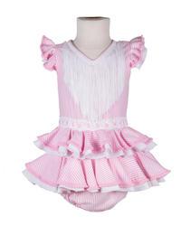 Traje de flamenca de bebé rosa de rayas
