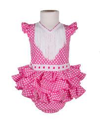 Traje de flamenca de bebé rosa fucsia