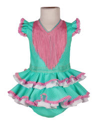 Traje de flamenca de bebé verde agua