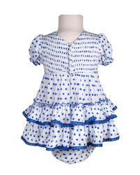 Traje de flamenca para bebe con braguita cubrepañal, crespón con fruncido en el pecho MiBebesito bb409