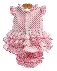 traje de flamenca para bebe blanco con braguita a juego, lunares color rosa y tres volantes MiBebesito apertura trasera