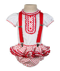 Ranita flamenca para bebé blanco lunar rojo