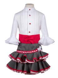 Traje campero para niña de camisa y falda