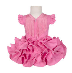 Traje de gitana flamenca para niña básico fucsia barato MijBebesito
