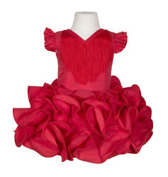 Traje de flamenca niña básico rojo