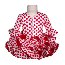Traje de gitana flamenca para niña rojo lunar blanco MiBebesito gtn418