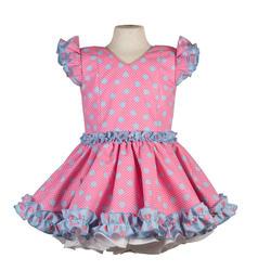 vestido de gitana para niñas rosa chicle con lunar celeste y blanco con pequeño escote en la espalda - MiBebesito