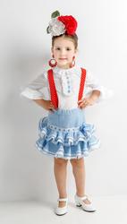 conjunto de blusa y falda rociera con tejido celeste a rayas blancas, fajín rojo y tirantes flamencos rojos con lunares blancos a juego - MiBebesito