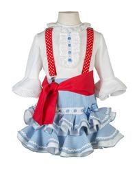 Conjunto de falda flamenca celeste de rayas y camisa