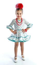 Traje de gitana flamenca para niña blanco lunar verde MiBebesito gtn413 modelo