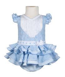 Traje de flamenca para bebé perforado celeste