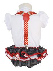 vestido de gitana para bebés de estilo campero con fajín rojo a juego MiBebesito