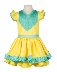 Traje de flamenca niña amarillo verde agua