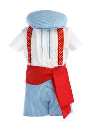 Tu niño estará bien guapo vestido de gitano con este modelo original de MiBebesito, con pantalón celeste a rayas, camisa y fajín rojo - MiBebesito