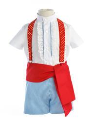 Traje de gitano para niño con tejido celeste a rayas