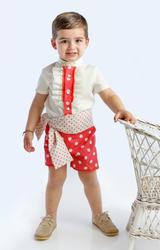 Traje de gitano flamenco para niño compuesto por camisa con chorreras, pantaló corto y fajín a juego gtnn408 MiBebesito modelo