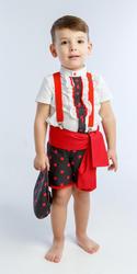 Traje de gitano flamenco para niño compuesto de camisa con chorreras, pantalón corto negro con lunar rojo y fajín a juego gtnn412 MiBebesito