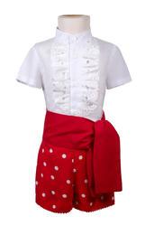 Traje de gitano para niño pantalón rojo lunar blanco