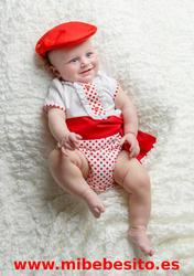 Ranita flamenca para niño blanco lunar rojo con fajín a juego - MiBebesito