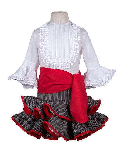 Falda flamenca y camisa campera para niña