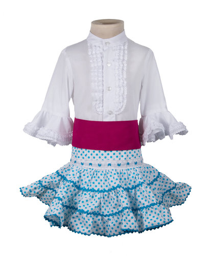 Falda flamenca y camisa para niña turquesa