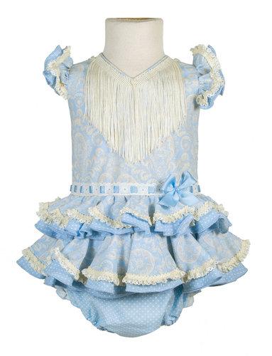 Vestido de gitana bebé cachemir celeste