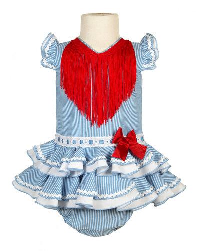 Traje de flamenca para bebe de rayas celeste