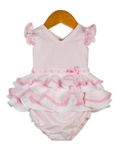 Traje de flamenca de bebé en blanco y rosa