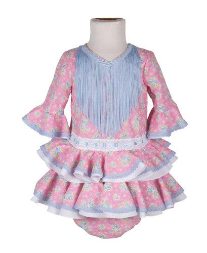 Traje de flamenca de bebé rosa con flores celestes