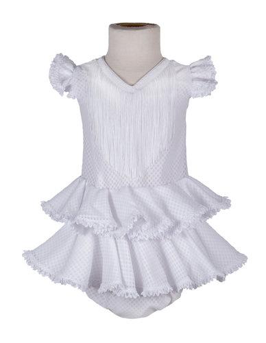 Traje de flamenca de bebé blanco