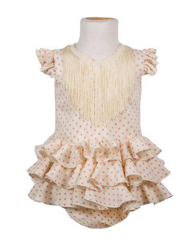 Traje de flamenca de bebé beige con lunares rosa