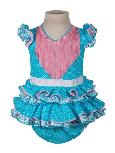Traje de flamenca de bebé turquesa