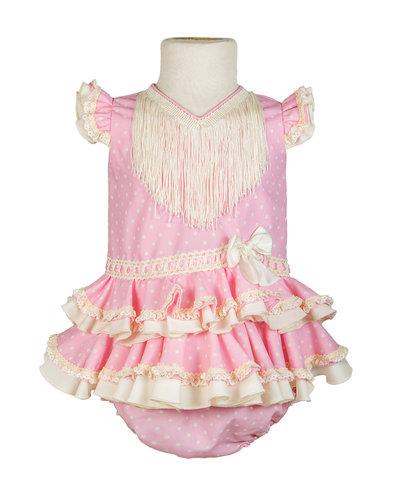 Traje de flamenca para bebé rosa con lunares beige claro