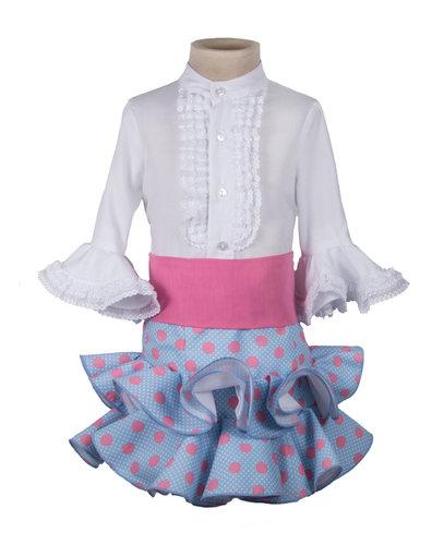 Falda flamenca y camisa para niña celeste y rosa