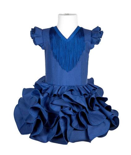 Traje de flamenca niña básico azul eléctrico