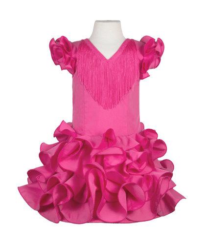 Traje de flamenca niña básico rosa fucsia
