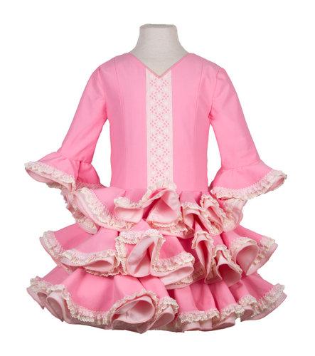 Traje de gitana para niña popelín rosa liso