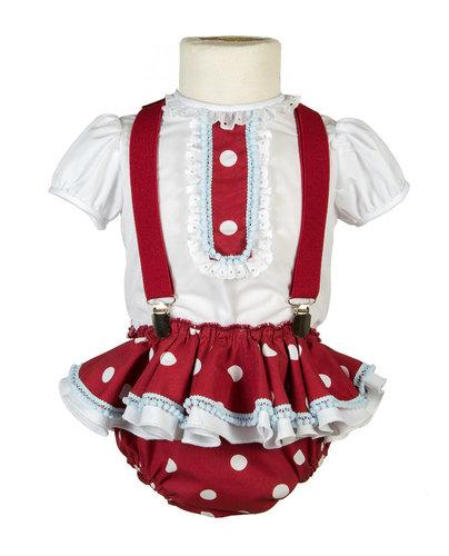 Ranita flamenca para bebé granate con lunar
