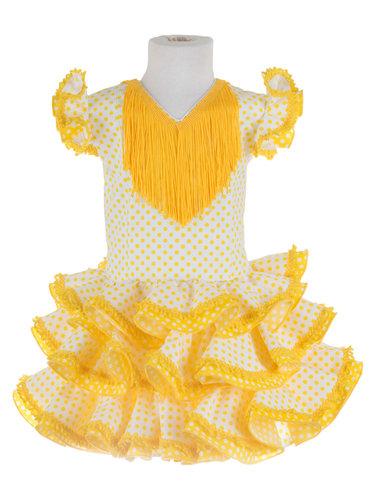 Traje de flamenca niña popelín amarilllo