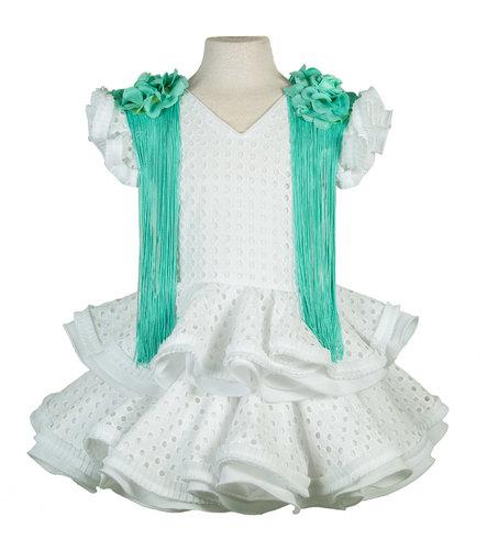 Traje de flamenca niña perforado blanco con hombreras verde agua