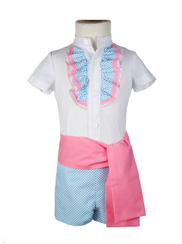 Traje de flamenco para niño de lunares celeste y fajín rosa