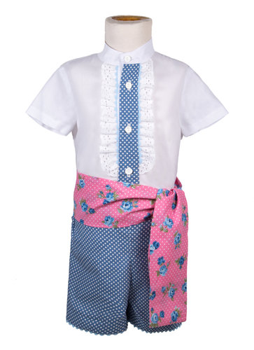 Traje de gitano para niño azul con lunares blancos