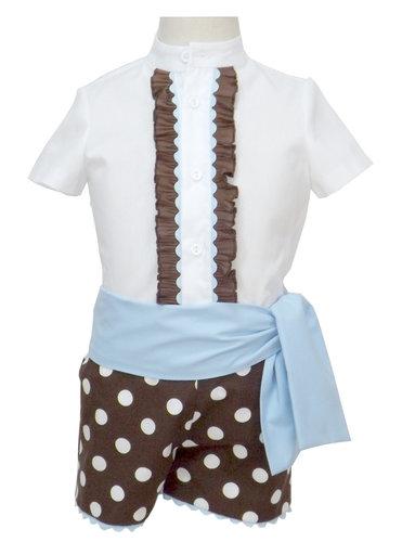 Traje de gitano pantalón popelín marrón camisa batista blanca